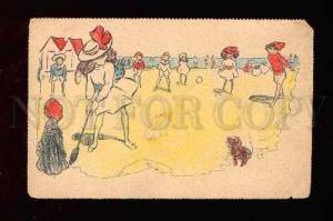 007582 GOLF on beach Vintage tinted colorful PC