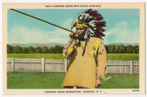 Cherokee Indian with Blow-gun, Cherokee NC