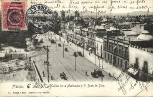 mexico, MEXICO D.F., Calles de la Mariscala y S. Yuan de Dios (1909) Stamp