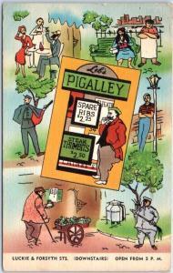 Atlanta, Georgia Postcard LEB'S PIGALLEY Restaurant Bar Comic Linen 1954 Cancel