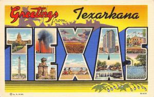 Texarkana Texas State Views~Large Letter Linen~Crops~Beach~Dam~Alamo 1938