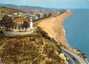 Spain Calella de Mar Vista general y Faro, Panorama and Lighthouse Cars Auto