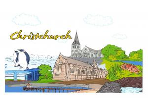 Art Postcard, Christchurch, New Zealand, Landmarks, City, View, Travel 97H