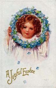 Greeting - Easter. Child.   Artist: K.S.