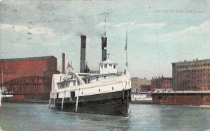 Steamer in Chicago River Chicago Illinois 1909 postcard