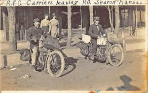 Sharon KS R.F.D. Post Office Motorcycles Rare 1914 RPPC Postcard