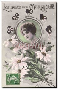 Old Postcard Fancy Language Daisy