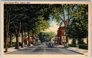 1940s Lisbon Ohio Postcard East Lincoln Way Downtown Street Scene Linen Unused