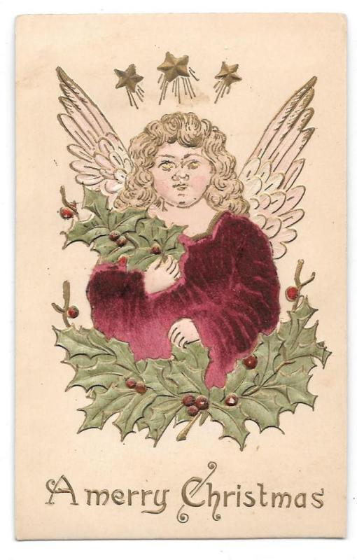Christmas Angel Applied Velvet Vintage Embossed Postcard