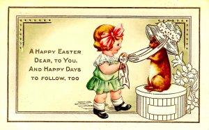 Greeting - Easter. Girl & Bunny.