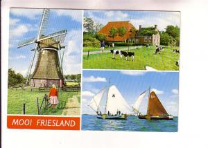 Threeview, Mooi Friesland, Windmill, Sailboats, Cows, Netherlands