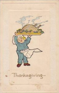 Thanksgiving Young Chef Carrying Platter With Turkey 1913