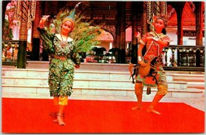 Vintage 1960s THAILAND Postcard DANCE SCENE Yaran Following the Peacock Unused