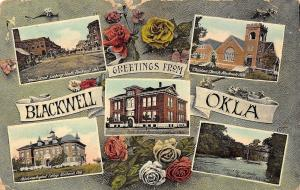 Blackwell OK~Main Street~Hi School~Baptist College~Bridge~Art Nouveau Roses~1909