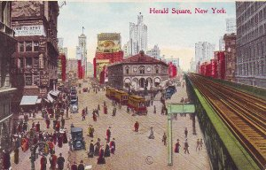 P1280 old pc unused cars trollies people railroad tracks etc herald sq new york