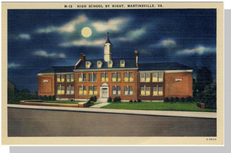 Martinsville, Virginia/VA Postcard,High School/Night,Nr Mnt!