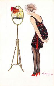 Beautiful Woman Bird Cage Red Shoes Signed Baldrich Postcard