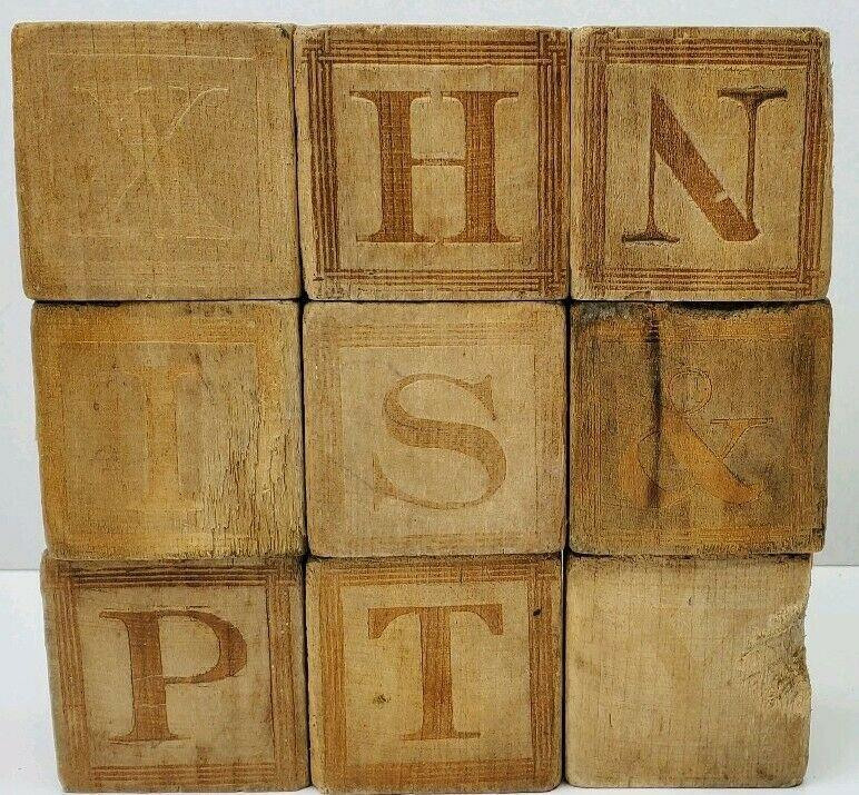 Antique Vtg Wood Blocks Carved Buffalo, Horse, Turkey, Porcupine, Kangaroo, Dog