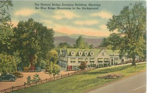 Natural Bridge Entrance Building Virginia Linen Postcard