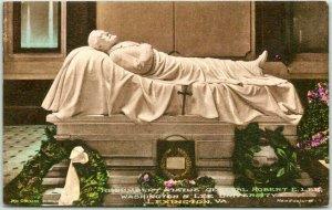Lexington, Virginia Hand-Colored Postcard Recumbent Statue Gen. Robert E. Lee