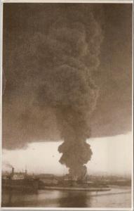 Valencia Spain ?? Oil Tanks on Fire January 1938 WW2 Reproduction Postcard E35