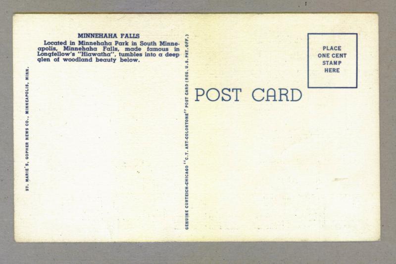 Minnehaha Falls, Minneapolis, Minnesota, unused Curteich linen Postcard