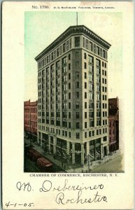 1905 Rochester, New York Postcard CHAMBER OF COMMERCE Building / Street View