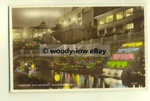 tp8372 - Hants - The Cascade & Rockery lit up at Night, Bournemouth -  postcard