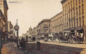 Toledo OH Street Vue Store Fronts Trolley Horse & Wagons Ice Cream RPPC Postcard