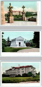 3 Postcards STANFORD UNIVERSITY, CA ~ Chemistry Building, Mausoleum, Roble Hall