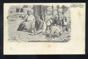 GREETINGS FROM SAN ANTONIO TEXAS MIXICAN WOMAN TORTILLA MAKER OLD POSTCARD