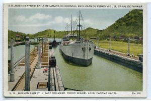 SS Buenos Aires Steamer Pedro Miguel Lock Panama Canal 1920c postcard