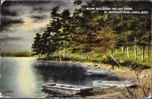 WILLOW DALE - Moonlit view shows three flat bottom boats along lake shore, 1910s