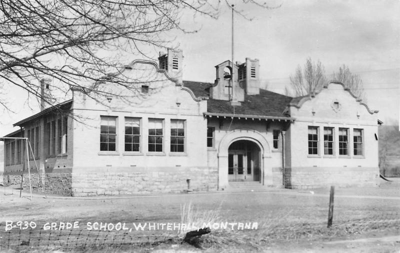 Whitehall Montana~Grade School~Swing Set~Cecil B Nixon Photo~1940s RPPC