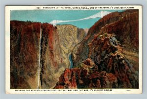 Royal Gorge CO, Panorama, Bridge, Incline Railway, Vintage Colorado Postcard