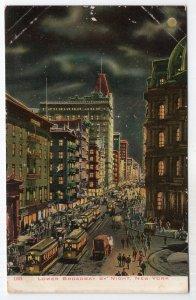 Lower Broadway By Night, New York
