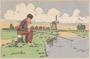 Artist NTR ,1900-1910s , Dutch man fishing