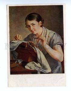 155072 RUSSIA Type lace-maker Belle by TROPININ vintage PC