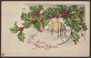Happy New Year,Holly Postcard
