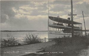 A69/ Winona Lake Indiana In Postcard c1910 Evening City of Warsaw Steamer Boat