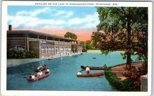 Milwaukee, WI Postcard Pavilion on the Lake in Washington Park Boating Linen