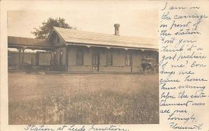 Leeds ME Railroad Station Train Depot Horse & Wagon RPPC Postcard