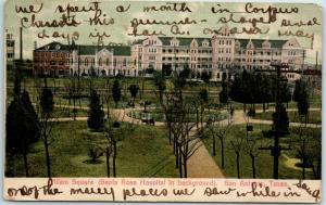 San Antonio, TX Postcard Milam Square (Santa Rosa Hospital in Background) 1908