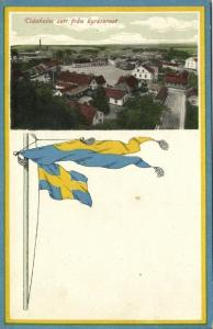 sweden, TIDAHOLM, Panorama from Church Tower, Swedish Flag Postcard (1910s)