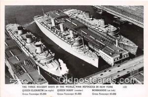 Queen Elizabeth, Mary, Normandie Sunk in NY New York Postcard Post Card New Y...