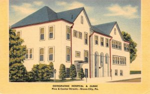 LPS07 Grove City Pennsylvania Osteopathic Hospital and Clinic Postcard