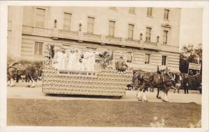 RP; Parade, WINNIPEG, Manitoba, Canada, 1931; Horse-drawn float, Miriam Rebek...