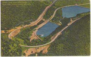 Aerial View, Horseshoe Curve Main Line, Pennsylvania Railroad, unused Postcard