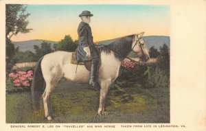 LP69 Civil War  Lexington Virginia Postcard Robert E. Lee Traveller  Horse