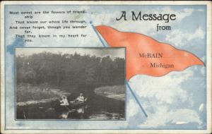 McBain MI Pennant Greeting w/ Poem c1915 Postcard